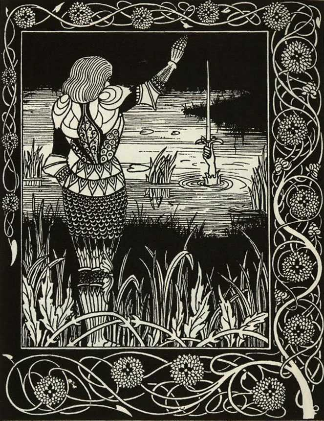 Bedevere throws Excalibur back into the Lake by Aubrey Beardsley